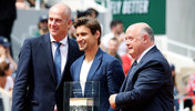 Guy Forget mit David Ferrer und Bernard Giudicelli 2019 in Paris