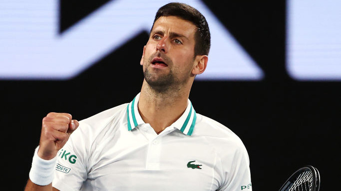 Novak Djokovic in gewohnter Pose in Melbourne